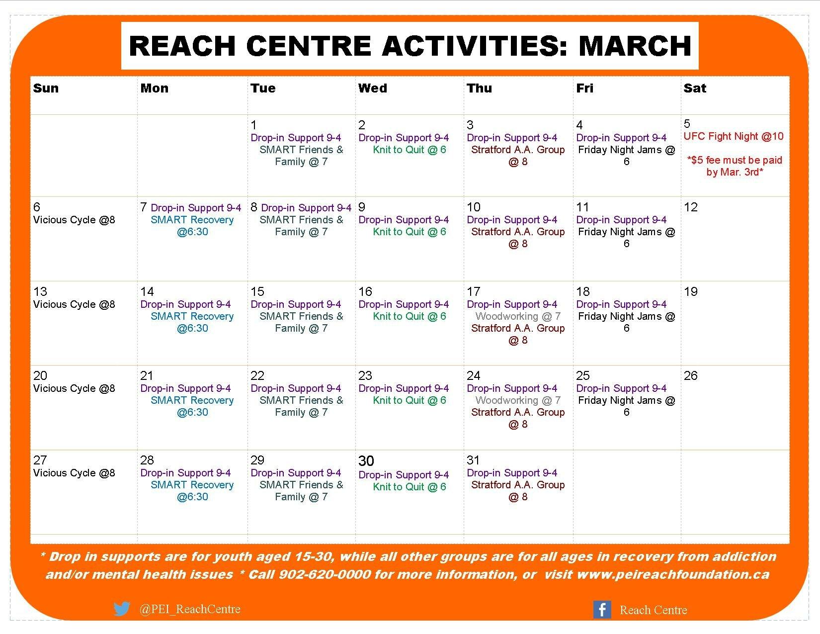 Reach Centre Calendar of Activities